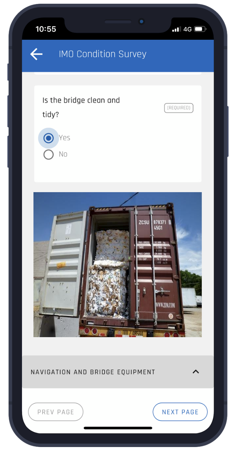Image for container inspections in app